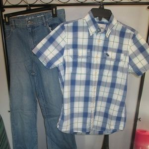 Boys 2 Piece Outfit XL button down + Jeans 18 Slim